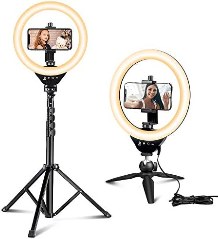 10'' Ring Light with 50'' Extendable Tripod Stand, Sensyne LED Circle Lights with Phone Holder for Live Stream/Makeup/YouTube Video/TikTok