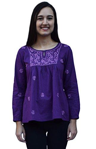 Ayurvastram Lisa Pure Cotton Hand Embroidered Boho Tunic Top Blouse: Pink emb on Purple 1X