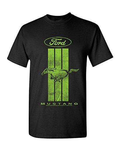 (Ford Mustang Green Stripe T-Shirt Classic American Muscle Car Mens Black L)