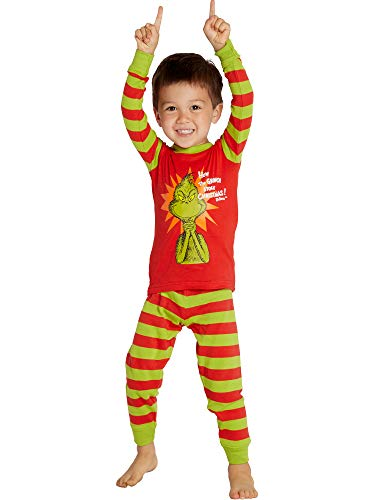 Dr. Seuss How The Grinch Stole Christmas Cotton Pajama Set, Red, 2T ()