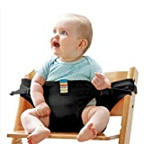 Fitlyiee Portable Baby Feeding Chair Belt Soft Safety Seat Belt 44 lbs Capacity with Straps High Chair Harness for 3-36 Months (Black)