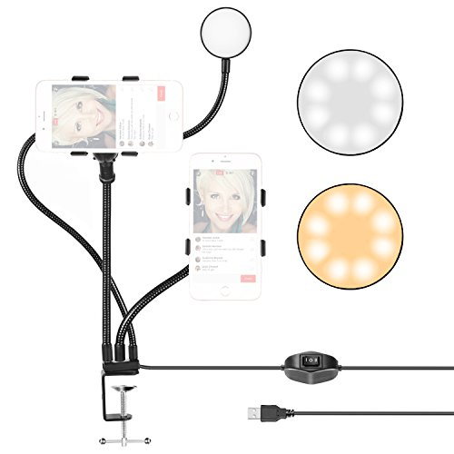 Neewer Live Broadcast USB LED Selfie Ring Light with 2 Cell Phone Clamps for Live Stream,Youtube Video,2-Light Mode,360 Degree Rotating Flexible Arm for iPhone, Samsung, HTC (Mic,Phone NOT Included) by Neewer