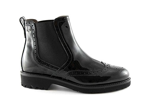 NEGRO JARDINES mujer 16027 botas de cuero Beatles Inglés toe patente Nero