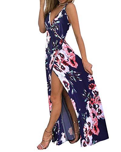 II ININ Women's Deep V-Neck Strap Casual Floral Print Maxi Split Dress(Floral05,L) (Summer Maxi Dresses For Women)