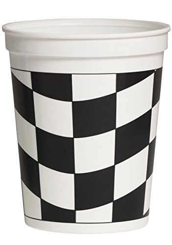 Creative Converting 16-Ounce Plastic Stadium Cups, Black & White Check, 12-Count