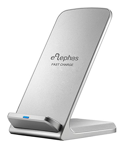 Wireless Schnellladegerät, ELEPHAS Drahtloses Induktive Schnellladestation Qi Kabellose Ladegerät für Samsung Galaxy S6 Edge Plus / S7 / S7 Edge und alle Qi Fähige Geräte,Silber