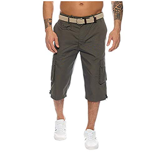 Lightning Dry Quarter Sock - Men's Button Cotton Multi-Pocket Overalls Shorts Fashion Pant, Mmnote Army Green
