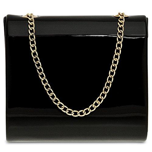 CASPAR TA387 stylisch kleine Damen Metallic Lack Mini Koffer Clutch Tasche / Abendtasche mit langer Kette Schwarz