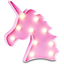 OYE HOYE Unicorn Night Light, Pink Unicorn Marquee with White LED Lights Table Lamp Unicorn Wall Decor with Battery Operated for Bedroom Kids Gift