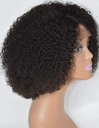 Chantiche Pre Plucked Curly Lace Front Wigs Human Hair with Baby Hair, Brazilian Remy Human Hair Wigs for Black Women Natural Color 130% Density 8inch