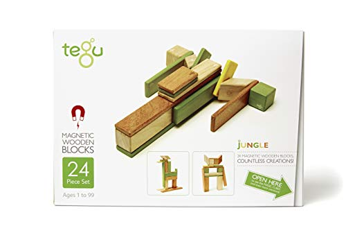 24 Piece Tegu Magnetic Wooden Block Set, Jungle ()