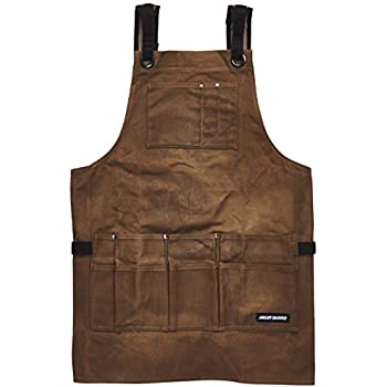 Angry Beaver - Waxed Canvas Work Shop Apron with Bonus Zipper Tool Pouch | Cross-Back Straps - Adjustable M to XXL