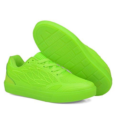 O & N Femmes Filles Enfants Maille Respirant Allume Chaussures 7 Couleurs Led Chaussures Usb Charge Clignotant Espadrilles Vert