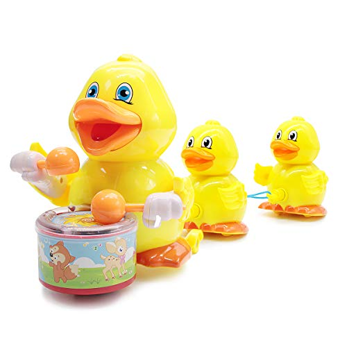 Lydaz Musical Ducks Toy Bump N Go Ducklings Following Mom Duck Playing The Drum with Lights and Sounds for Baby Infant Toddler Girls Boys 1 2 3 Year Old