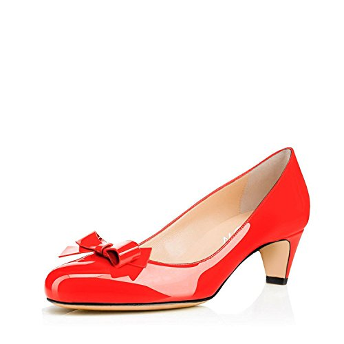YDN-Women-Closed-Round-Toe-Pumps-Low-Heels-Shoes-With-Bowknot-For-Work-Office-Ladies-Red-12