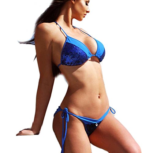 SMARTLADY Mujer Push-up Bikini Brasileño Acolchado Bra Trajes de baño Azul