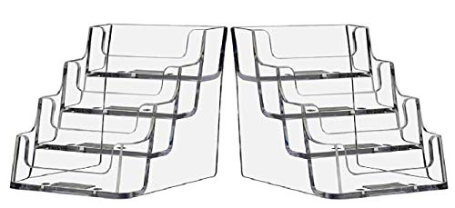 T'z Tagz Brand 4 Pocket Business Card Holder, Holds 2 Inches High x 3.5 Inches Wide Cards, Four-Tier, 2 Pack