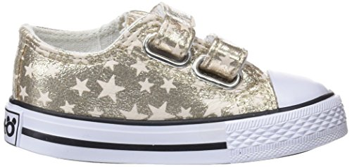Conguitos Sneaker Metalizado Velcro, Zapatillas Sin Cordones Para Niñas Dorado (Platino)