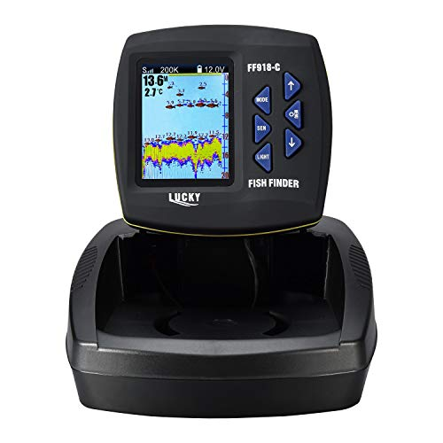 LUCKY Fish Finder for Boat Fishing Kayak Fishing with 3.5-inch LCD High Definition Screen with Dual-Beam Sonar transducer 180M Detecting Depth ()