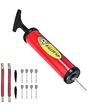 6-in Plastic Football Soccer Air Pump Ball Hand Air Pump Mini PVC Balloon Pump Double-Purpose Ball Maintenance Kit Red