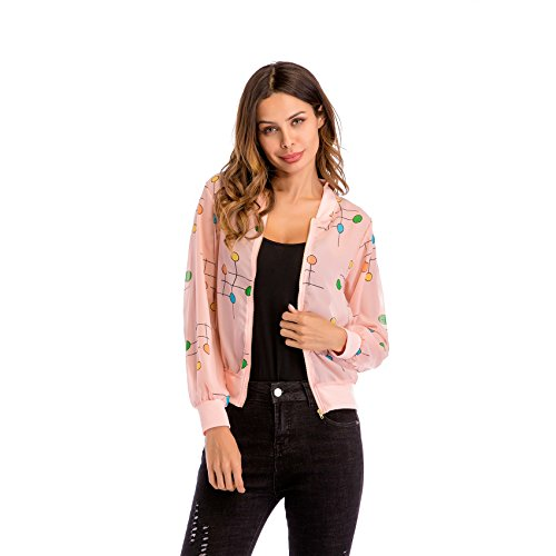 Cremallera Chamarra Top Jacket Aviator Rosa Chaqueta Bomber Colorful Delantera Flight Larga Circle Manga Cazadora Collar Stand TwtFO6