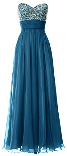 MACloth Women Strapless Chiffon Long Prom Dress Wedding Party Formal Ball Gown Teal
