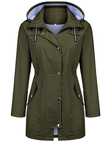 Kikibell Rain Jacket Women Striped Lined Hooded Lightweight Raincoat Outdoor Waterproof Windbreaker (Army Green, ()