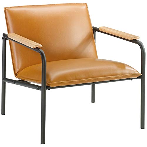Sauder Boulevard Cafe Faux Leather Accent Chair in Camel and Black