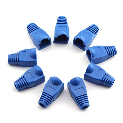 ZYAMY 100pcs Blue RJ45 Adapter Cap for 6mm Ethernet Network Cable Connector Plugs Boots Cover Mini Protective Sleeve Crystal Head Protector (Protective Cable Boot)