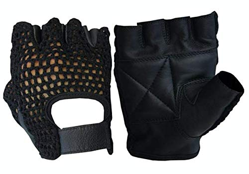 A&H Apparel Leather Net Driving Weight Training Cycling Wheelchair Fitness Gloves (X-Large) (Wheelchair Gloves Leather)