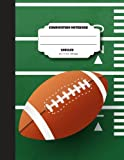 Composition notebook unruled 8.5 x 11 inch 200 page, NFL fan: Large composition book journal for school student/teacher/office