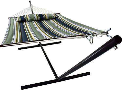 Sorbus Hammock with Spreader Bars and Detachable Pillow, Heavy Duty, 450 Pound Capacity, Accommodates 2 People, Perfect for Indoor/Outdoor Patio, Deck, Yard (Hammock with Stand, Blue/Aqua)
