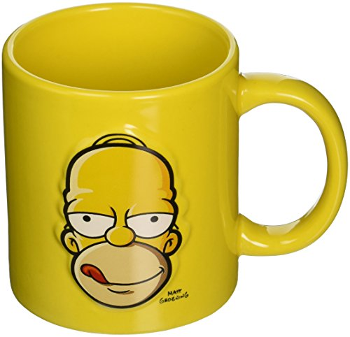 ICUP Simpsons Homer Face Embossed Ceramic Mug, 20 oz, Clear