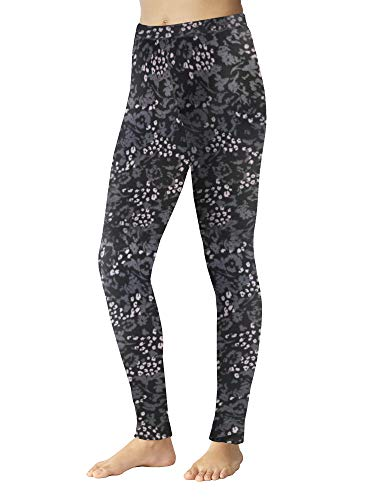 Cuddl Duds ClimateRight Womens Stretch Fleece Warm Underwear Leggings/Pants (XL - Animal Floral)