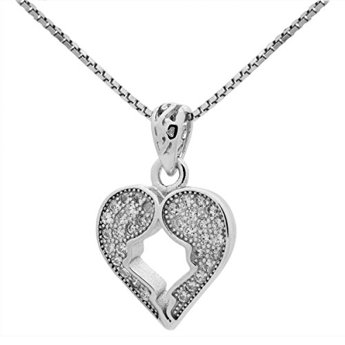 Sterling Silver 15mm Clear CZ Micropave Broken Heart Pendant Necklace 18 inches Chain (Broken Heart Pendant)
