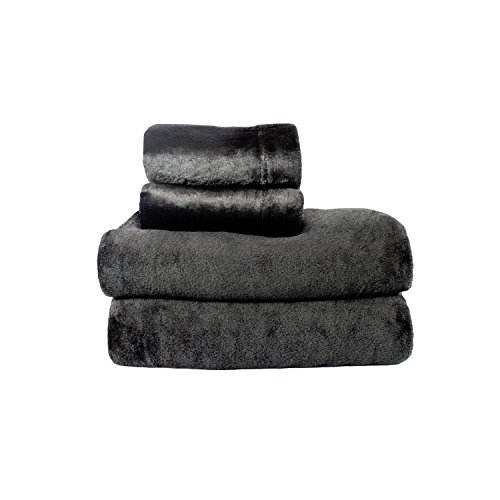 Cozy Fleece Microplush Sheet Set, King, Black (King Set Polar Sheet Fleece)