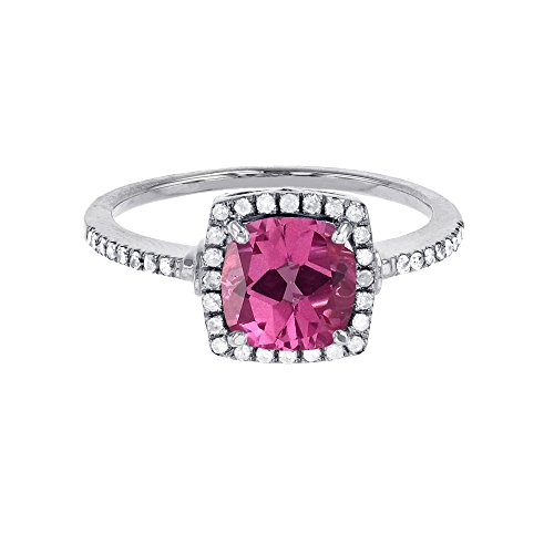 14K White Gold 7mm Cushion Pure Pink Topaz & 0.20 CTTW Diamond Halo Ring