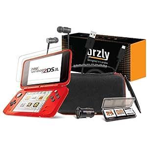 ORZLY® Accesorios 2DSXL, Pack New Nintendo 2DS XL [Paquete Incluye: Cargador de Coche/Cable USB/Rojo en Negro Edición Funda para Consola y más…] ...