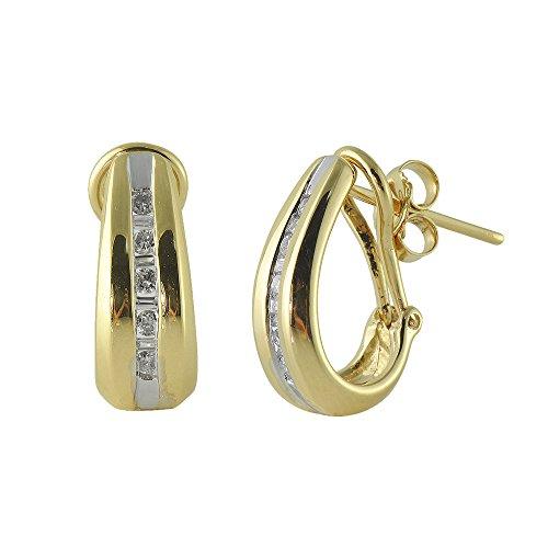 TriJewels Diamond Round & Baguette Shape Hoop Earrings 0.25ct tw in 10K Yellow Gold