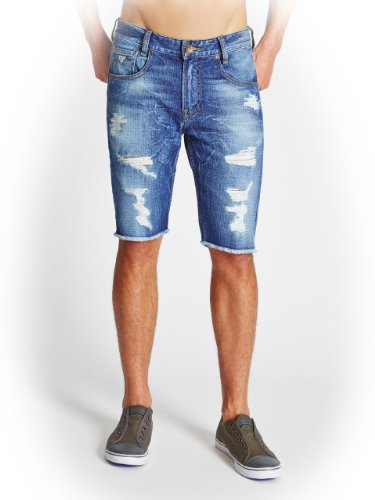GUESS Men's Alameda Slim-Fit Destroyed Denim Shorts in Hickory Wash