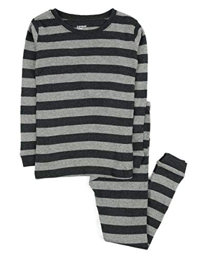 Leveret Striped 2 Piece Pajama Set 100% Cotton (6 Years,Light & Dark Grey) ()