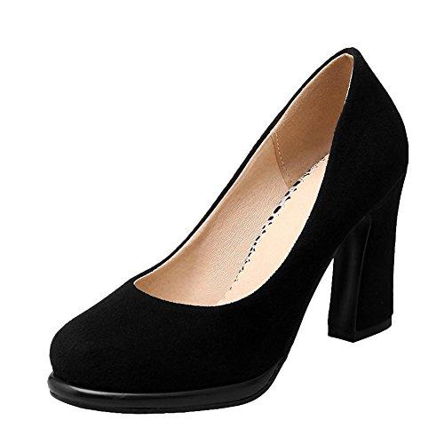 Carolbar Womens Elegance Fashion Charm Chunky Hoge Hak Jurk Pumps Schoenen Zwart