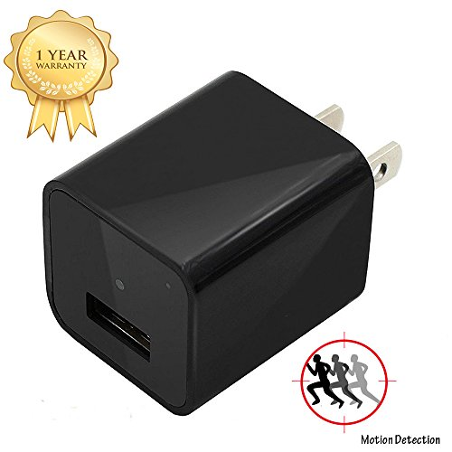 Charger Camera Adapter EOVAS 1080P HD USB Wall Charger Camera Mini Nanny Camera with 32G Internal Memory for Home Security Camera – Update Version