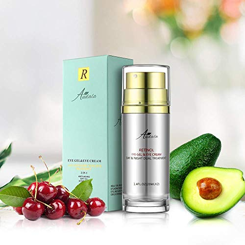Retinol Eye Cream and Eye Gel 2 in 1 Day and Night Eye Care With Retinol, Sunscreen for Eye, Fights the Appearance of Wrinkles, Fine Lines, Dark Circles, Puffiness 2X 20ml by Audala