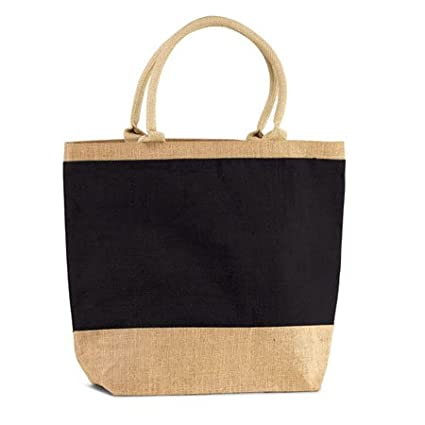 a6ed7b89e12a Image Unavailable. Image not available for. Color  Natural Black Jute Burlap  Tote Bag with Zippered Closure Cotton Webbed Handles ...