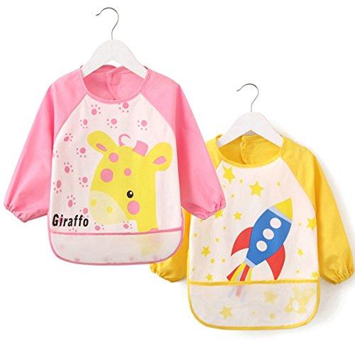 [2 Pack] Baby Bibs with Pocket,Waterproof Sleeved bib,100% Polyester Fiber Bibs for Teething Feeding Baby_CLRST6