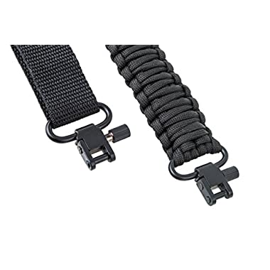 Rifle Sling 550 Paracord - 2 Point - Survival Hunting Shooting - Extra Strong Multi Use (Black)