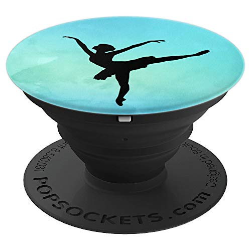 Ballet Silhouette Pose Watercolor Dance PopSockets Grip Gift - PopSockets Grip and Stand for Phones and Tablets ()
