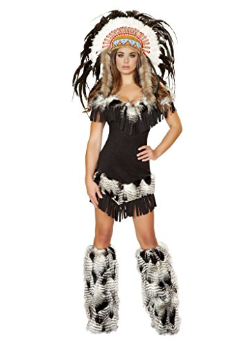 Roma Costume Women's 1 piece Cherokee Princess, Black, Small