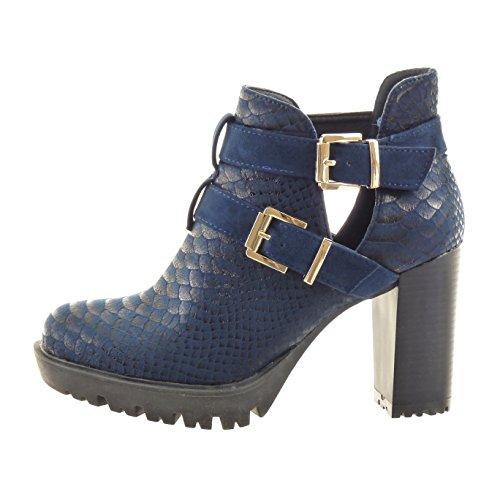 Sopily - Zapatillas de Moda Botines chelsea boots abierto Tobillo mujer piel de serpiente Hebilla brillantes Talón Tacón ancho alto 10 CM - plantilla sintético - Azul